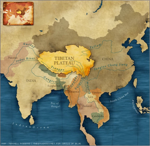 The Tibetan Plateau – a source for Asia's Rivers (Source: Circle of Blue)
