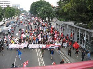Protestors in Jakarta rally against fuel subsidy cuts, May 2008