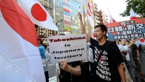 Japanese nationalists protest against a visit by South Korean President Lee Myung-Bak to a group of islets known as Dokdo In Korea, and Takeshima in Japan. (Source: AFP)