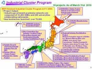 Cluster Program and Regional Revitalization Source: http://www.eu-japan.eu/img/programmes/industrial_cluster_program.jpg