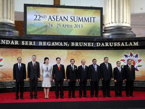 ASEAN leaders at their most recent summit in Brunei in April. From left: Philippine President Benigno Aquino, Singapore's Prime Minister Lee Hsien Loong, Thailand's Prime Minister Yingluck Shinawatra, Vietnam's Prime Minister Nguyen Tan Dung, Brunei's Sultan Hassanal Bolkiah, Myanmar's  President Thein Sein, Cambodia's Prime Minister Hun Sen, Indonesia's President  Susilo Bambang Yudhoyono, Laos Prime Minister Thongsing Thammavong and Malaysia's Senate President Abu Zahar Ujang. Source: http://globalnation.inquirer.net/73055/southeast-asian-leaders-urge-china-to-discuss-rows