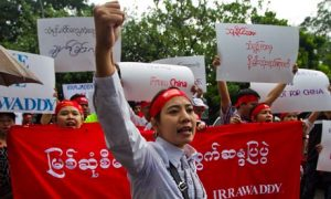 Activists protesting against Chinese-backed Myitsone dam in Myanmar in 2011.