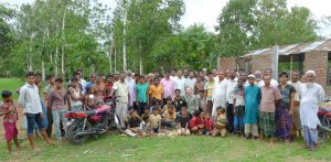 The author with residents of residents of Dahala Khagrabari #47, an Indian enclave inside Bangladesh.