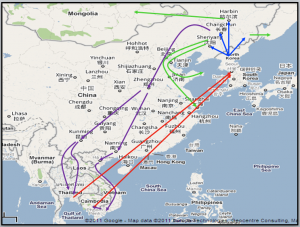 Migratory routes taken by North Koreans on their way to South Korea. Map modified by the author © Song Jiyoung.