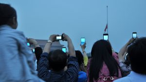 Flag raising on a Sunday morning in Tiananmen Square (photo by Grégoire Legault).