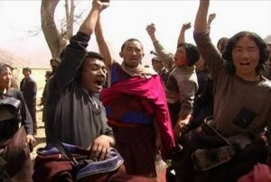 Tibetans protest Chinese rule in 2009.