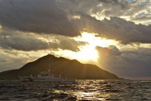 A Japanese coast guard vessel patrols the waters surrounding one of the disputed Senkaku/Diaoyu Islands (source: Al Jazeera).