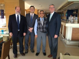 On February 18, UBC President Toope (far right), UBC Vice President John Hepburn (far left), and IAR Director Yves Tiberghien (second left) met in Delhi with Dr. Rajiv Kumar, a senior leader of the think tank Centre for Policy Research (http://www.cprindia.org), to discuss India's economic reforms and foreign affairs.