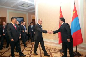 The heads of state of China, Russia and Mongolia meet in Dushanbe, Tajikistan in September 2014 (credit: infomongolia.com).