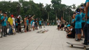 Skateboarding competition at Lenin Square, June 2013. (Source: Alice Miquet)
