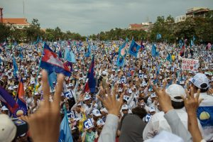 Thousands CNRP (Cambodia National Rescue Party) supporters gather at Fredoom Park in Phnom Penh, for the last day of campaign for the Cambodian Election 2013.